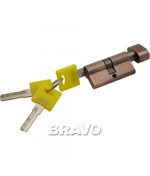 Цилиндр Bravo ZF-60-30/30 ключ-фиксатор (Медь)